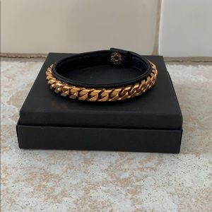 Vita Fede rose gold chain/blk leather bracelet